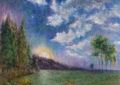 #240 Moonlit Marsh by Elaine Burns